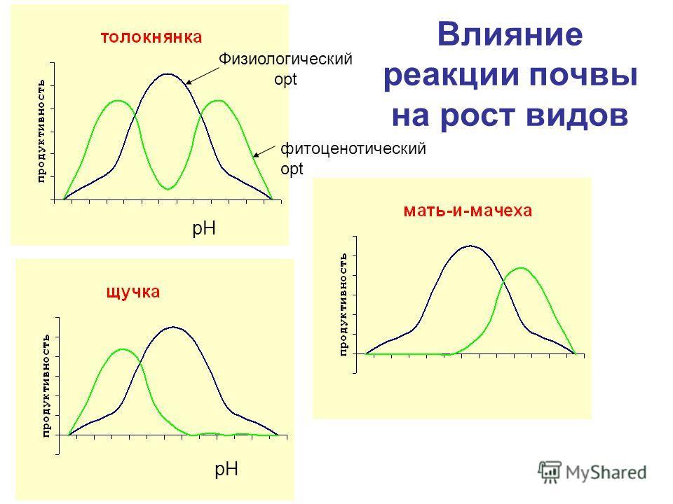 Влияние реакции почвы на рост видов pH Физиологический opt фитоценотический opt pH