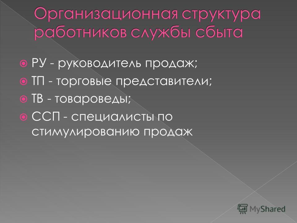 РУ - руководитель продаж; ТП - торговые представители; ТВ - товароведы; ССП - специалисты по стимулированию продаж