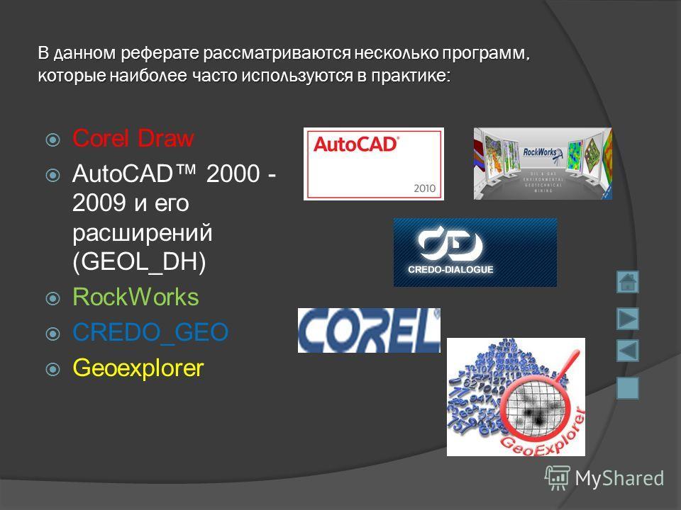 В данном реферате рассматриваются несколько программ, которые наиболее часто используются в практике: Corel Draw AutoCAD 2000 - 2009 и его расширений
