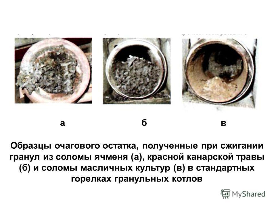а б в Образцы очагового остатка, полученные при сжигании гранул из соломы ячменя (а), красной канарской травы (б) и соломы масличных культур (в) в стандартных горелках гранульных котлов