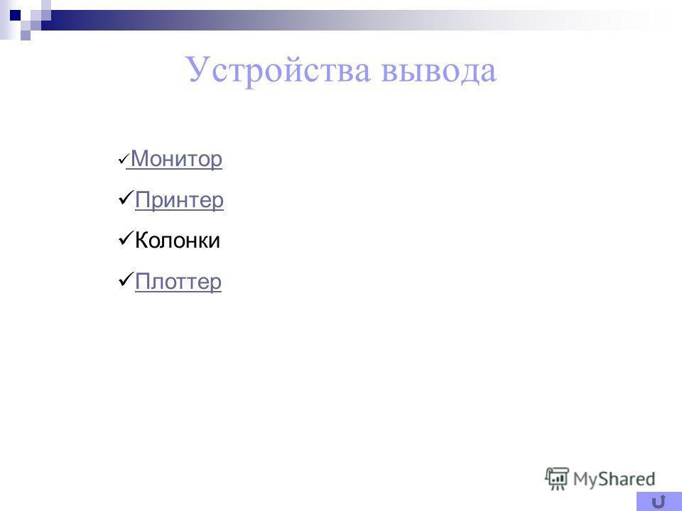 Устройства вывода Монитор Монитор Принтер Колонки Плоттер