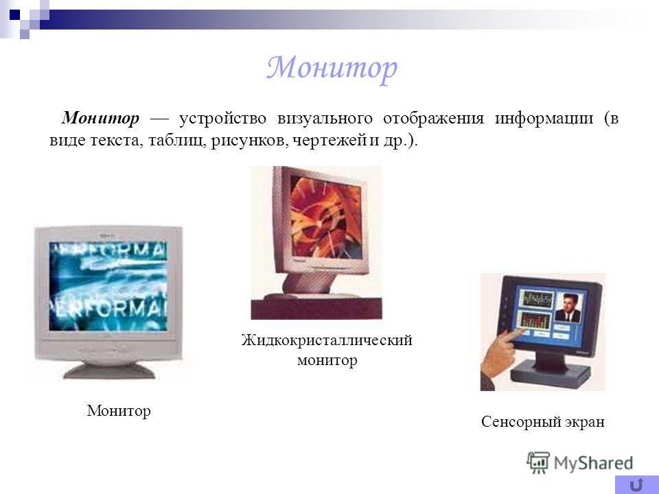 Монитор Монитор устройство визуального отображения информации (в виде текста, таблиц, рисунков, чертежей и др.). Монитор Жидкокристаллический монитор Сенсорный экран