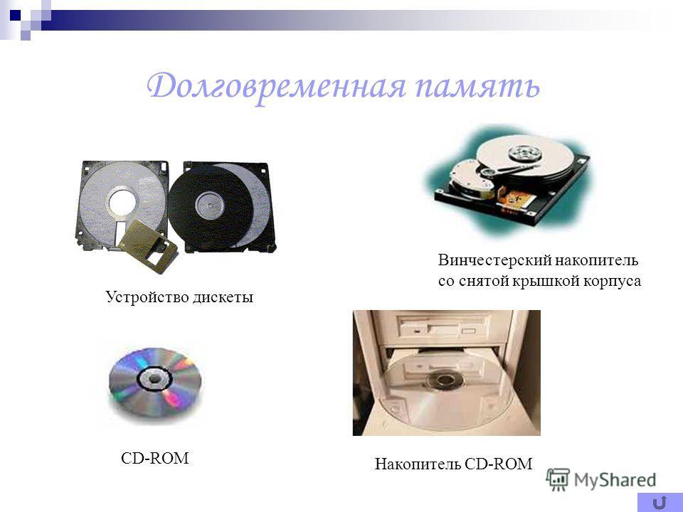 Долговременная память Винчестерский накопитель со снятой крышкой корпуса Устройство дискеты CD-ROM Накопитель CD-ROM