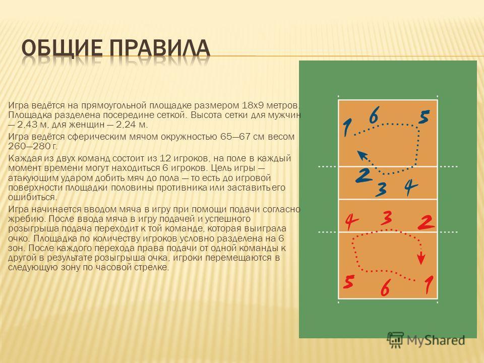Игра ведётся на прямоугольной площадке размером 18х9 метров. Площадка разделена посередине сеткой. Высота сетки для мужчин 2,43 м, для женщин 2,24 м. Игра ведётся сферическим мячом окружностью 6567 см весом 260280 г. Каждая из двух команд состоит из