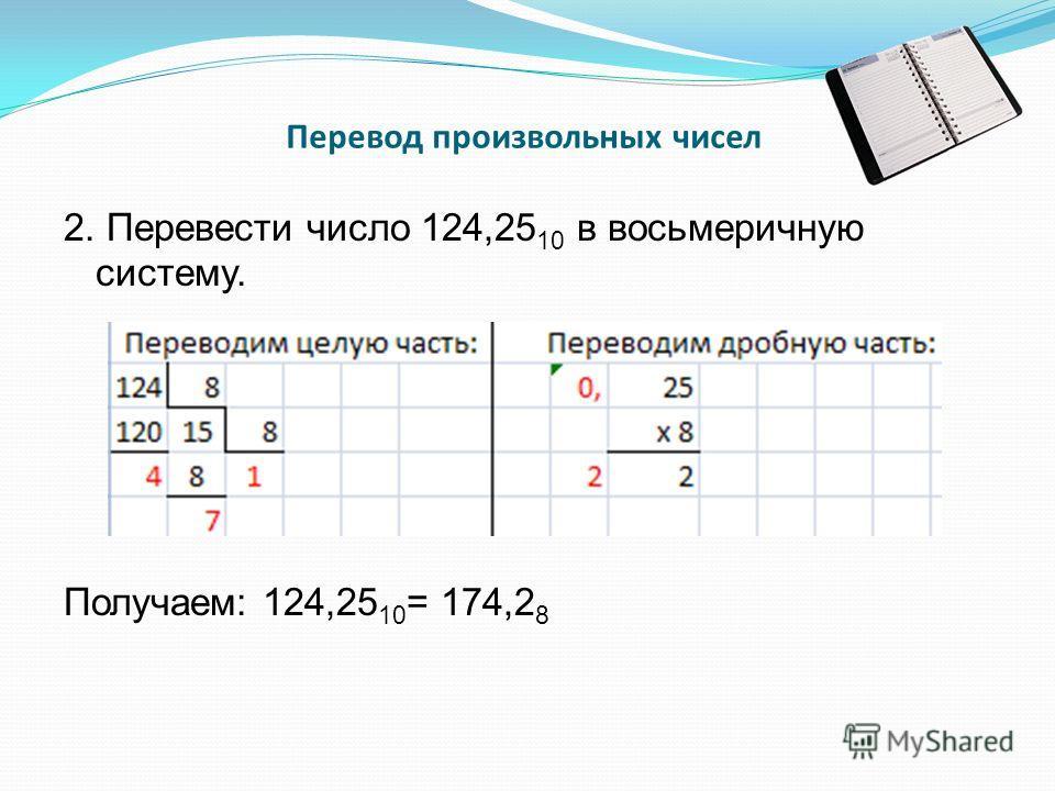 Перевод произвольных чисел 2. Перевести число 124,25 10 в восьмеричную систему. Получаем: 124,25 10 = 174,2 8