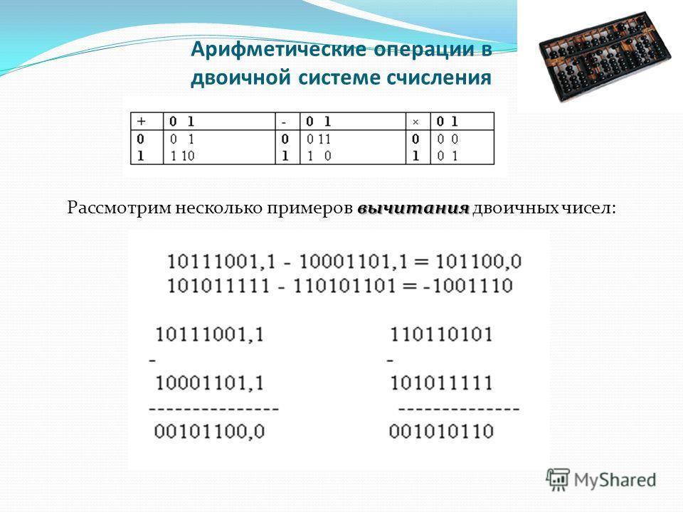 Арифметические операции в двоичной системе счисления вычитания Рассмотрим несколько примеров вычитания двоичных чисел: