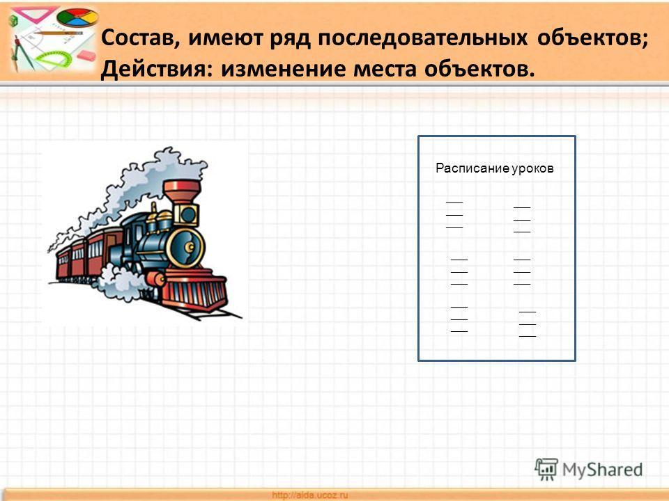 Расписание уроков ___ Состав, имеют ряд последовательных объектов; Действия: изменение места объектов.
