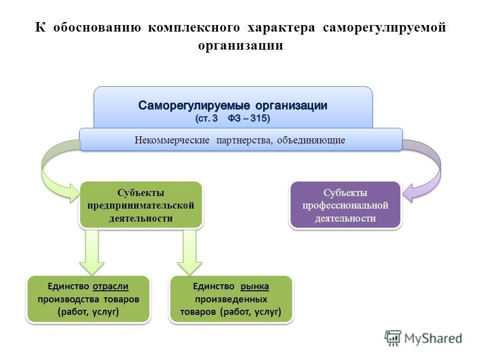 К обоснованию комплексного характера саморегулируемой организации Некоммерческие партнерства, объединяющие Субъекты профессиональной деятельности Субъекты предпринимательской деятельности Единство отрасли производства товаров (работ, услуг) Единство