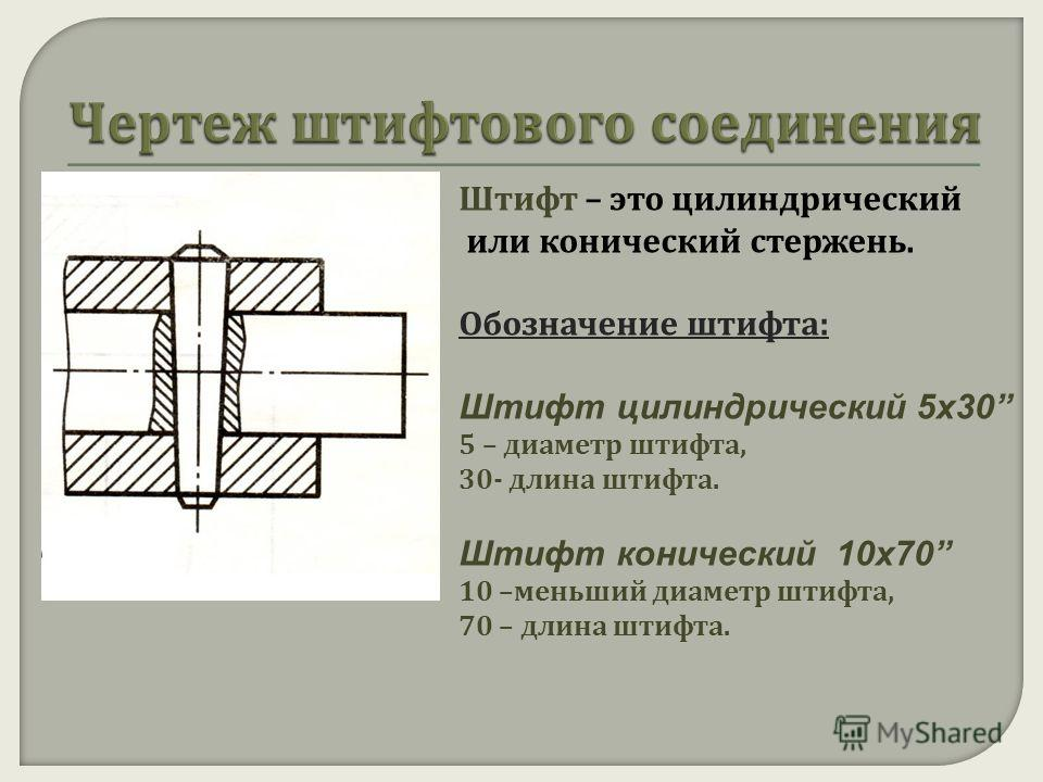 Штифт – это цилиндрический или конический стержень. Обозначение штифта : Штифт цилиндрический 5х30 5 – диаметр штифта, 30- длина штифта. Штифт конический 10х70 10 – меньший диаметр штифта, 70 – длина штифта.