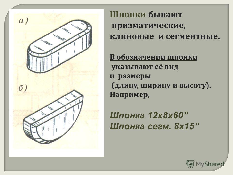 Шпонки бывают призматические, клиновые и сегментные. В обозначении шпонки указывают её вид и размеры ( длину, ширину и высоту ). Например, Шпонка 12х8х60 Шпонка сегм. 8х15