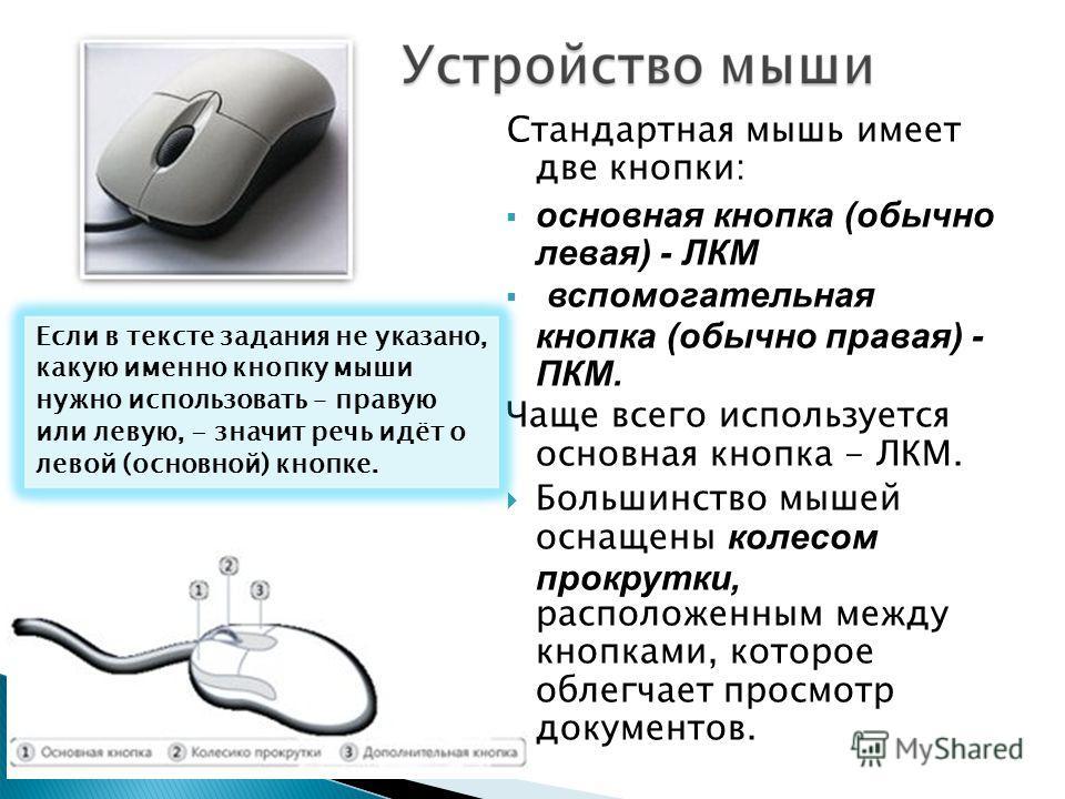 Стандартная мышь имеет две кнопки: основная кнопка (обычно левая) - ЛКМ вспомогательная кнопка (обычно правая) - ПКМ. Чаще всего используется основная кнопка - ЛКМ. Большинство мышей оснащены колесом прокрутки, расположенным между кнопками, которое о