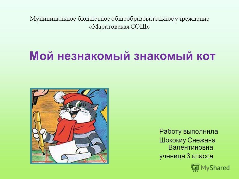 Муниципальное бюджетное общеобразовательное учреждение «Маратовская СОШ» Работу выполнила Шококиу Снежана Валентиновна, ученица 3 класса Мой незнакомый знакомый кот