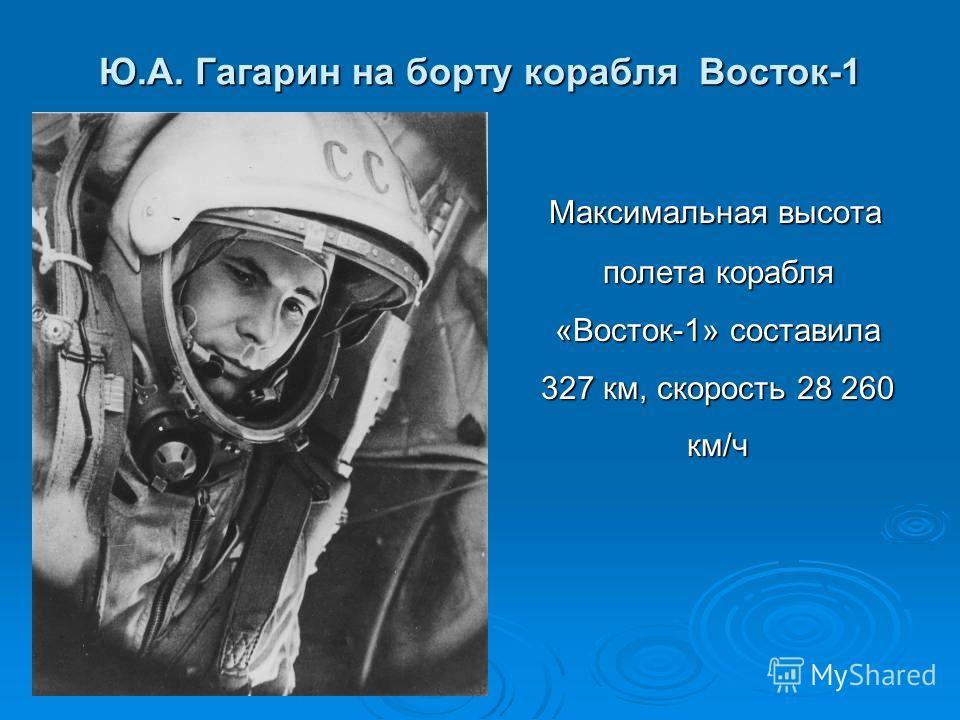Ю.А. Гагарин на борту корабля Восток-1 Максимальная высота полета корабля «Восток-1» составила 327 км, скорость 28 260 км/ч Максимальная высота полета корабля «Восток-1» составила 327 км, скорость 28 260 км/ч