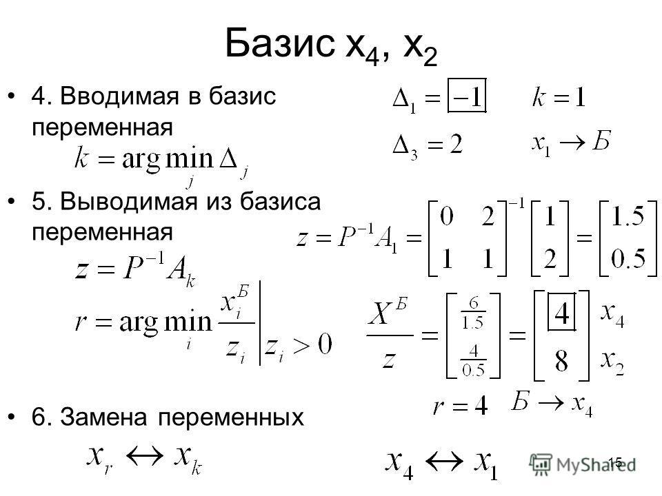 15 Базис x 4, x 2 4. Вводимая в базис переменная 5. Выводимая из базиса переменная 6. Замена переменных