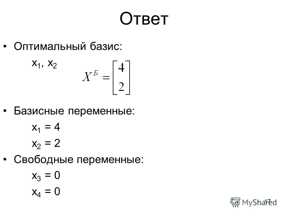 17 Ответ Оптимальный базис: x 1, x 2 Базисные переменные: x 1 = 4 x 2 = 2 Свободные переменные: x 3 = 0 x 4 = 0