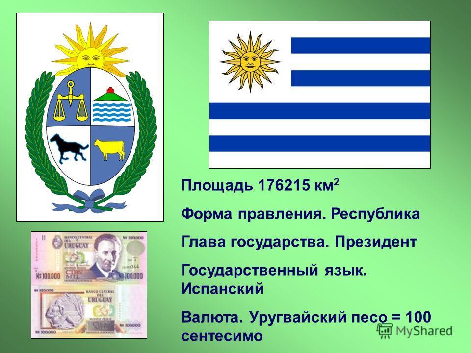 Площадь 176215 км 2 Форма правления. Республика Глава государства. Президент Государственный язык. Испанский Валюта. Уругвайский песо = 100 сентесимо