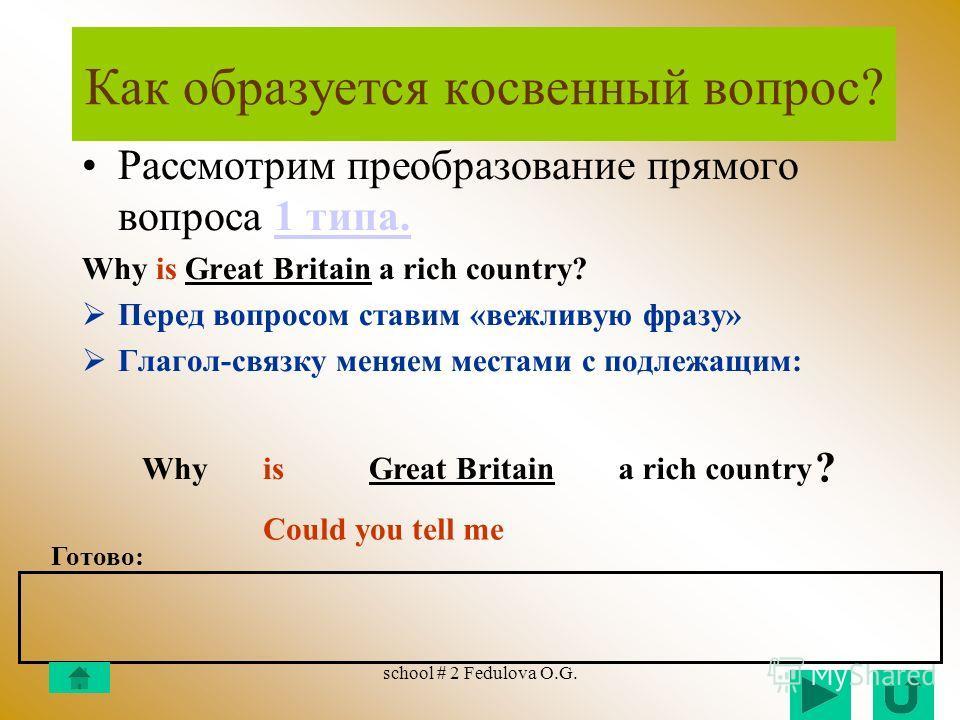 school # 2 Fedulova O.G. Как образуется прямой вопрос? 2 тип вопросов: cо смысловым глаголом Например: Почему (why) британцы (the British) любят (like) компромисс (compromise)? Вопро ситель ная группа Вспомога- тельный глагол Подлежа щее Смысло вой г