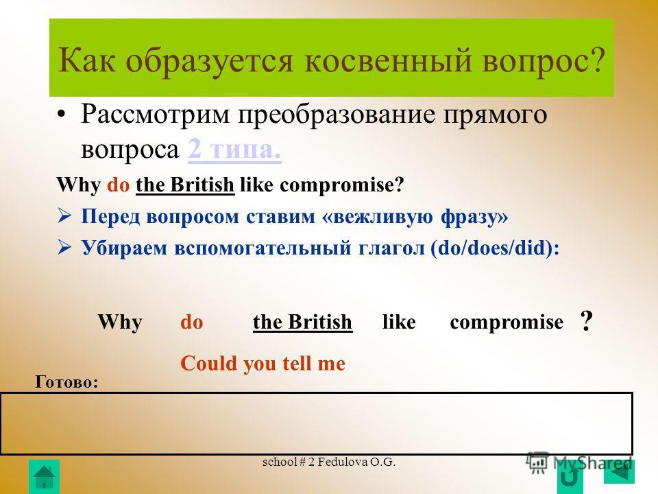 school # 2 Fedulova O.G. Как образуется косвенный вопрос? Рассмотрим преобразование прямого вопроса 1 типа.1 типа. Why is Great Britain a rich country? Перед вопросом ставим «вежливую фразу» Глагол-связку меняем местами с подлежащим: WhyisGreat Brita