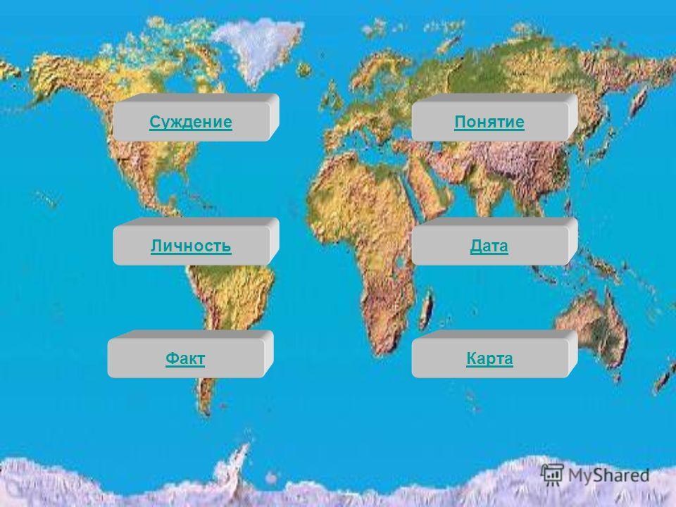 Дата Личность Суждение Факт Карта Понятие