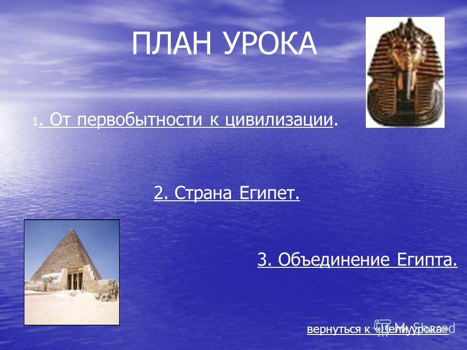 ПЛАН УРОКА 1. От первобытности к цивилизации. 2. Страна Египет. 3. Объединение Египта. вернуться к «Цели урока»
