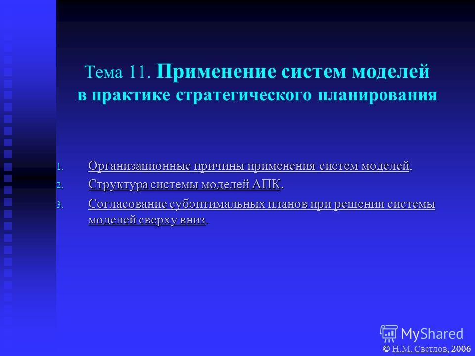 Тема 11. Применение систем моделей в практике стратегического планирования 1. Организационные причины применения систем моделей. Организационные причины применения систем моделей Организационные причины применения систем моделей 2. Структура системы