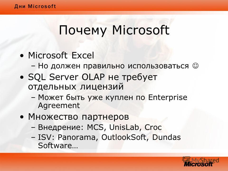 Почему Microsoft Microsoft Excel –Но должен правильно использоваться SQL Server OLAP не требует отдельных лицензий –Может быть уже куплен по Enterprise Agreement Множество партнеров –Внедрение: MCS, UnisLab, Croc –ISV: Panorama, OutlookSoft, Dundas S