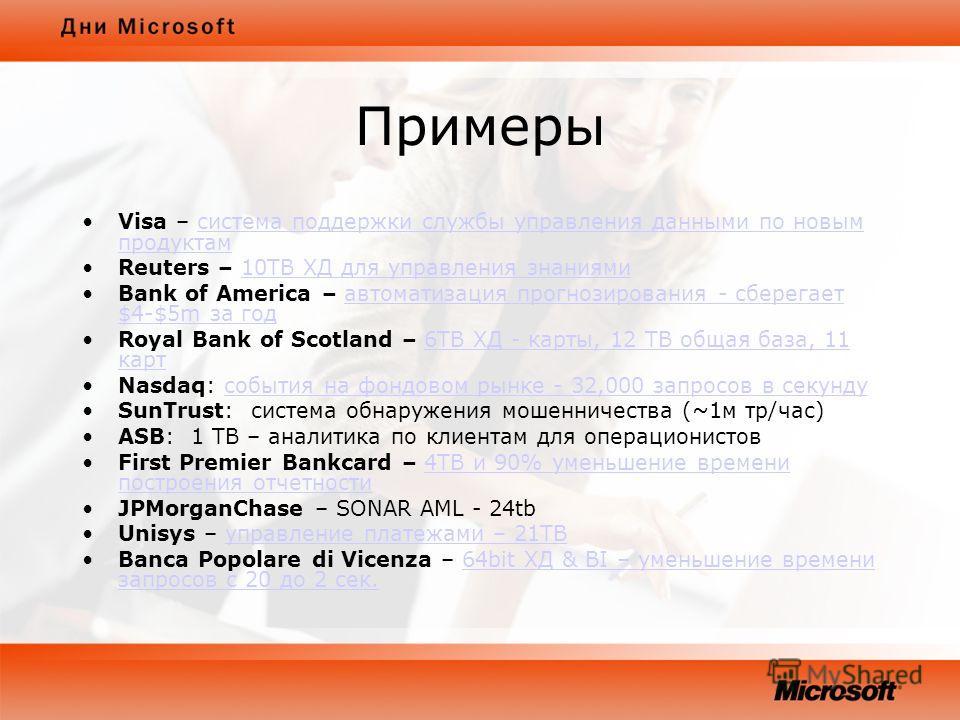 Примеры Visa – система поддержки службы управления данными по новым продуктамсистема поддержки службы управления данными по новым продуктам Reuters – 10TB ХД для управления знаниями10TB ХД для управления знаниями Bank of America – автоматизация прогн