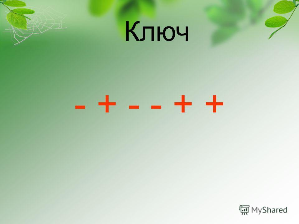 - + - - + + Ключ