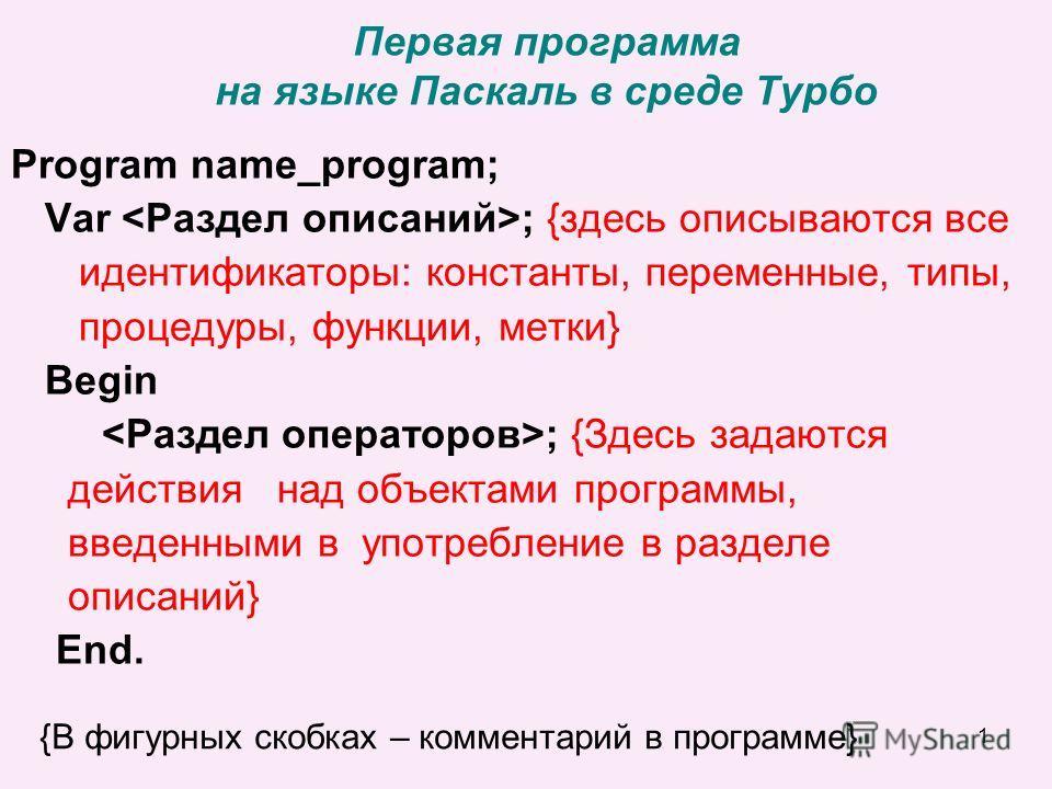 1 Первая программа на языке Паскаль в среде Турбо Program name_program; Var ; {здесь описываются все идентификаторы: константы, переменные, типы, процедуры, функции, метки} Begin ; {Здесь задаются действия над объектами программы, введенными в употре