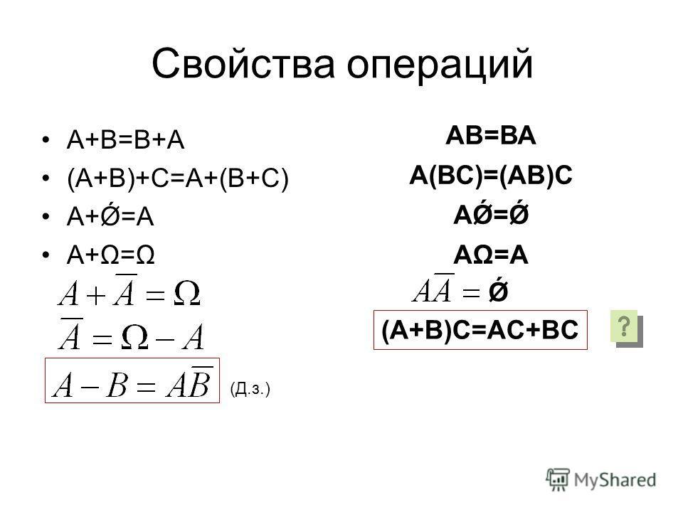 Свойства операций А+В=В+А (А+В)+С=А+(В+С) А+Ǿ=А А+Ω=Ω АВ=ВА А(ВС)=(АВ)С АǾ=Ǿ АΩ=A Ǿ (А+В)С=АC+BС (Д.з.)