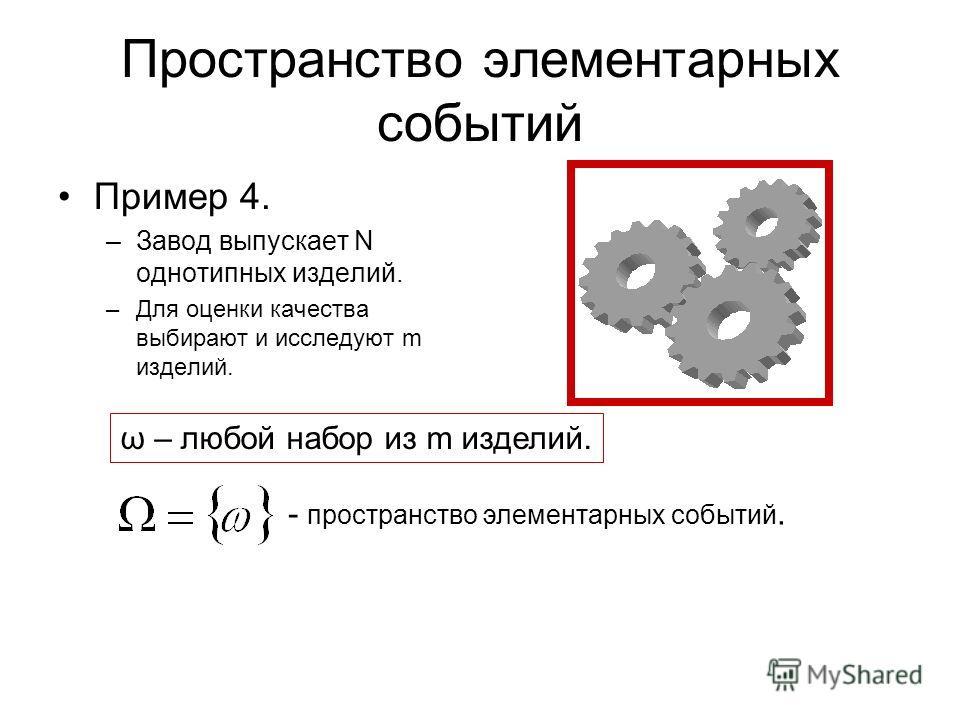 Пространство элементарных событий Пример 4. –Завод выпускает N однотипных изделий. –Для оценки качества выбирают и исследуют m изделий. ω – любой набор из m изделий. - пространство элементарных событий.