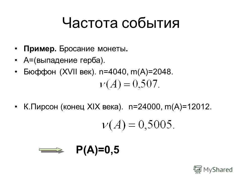 Частота события Пример. Бросание монеты. А=(выпадение герба). Бюффон (XVII век). n=4040, m(A)=2048. К.Пирсон (конец XIX века). n=24000, m(A)=12012. P(A)=0,5
