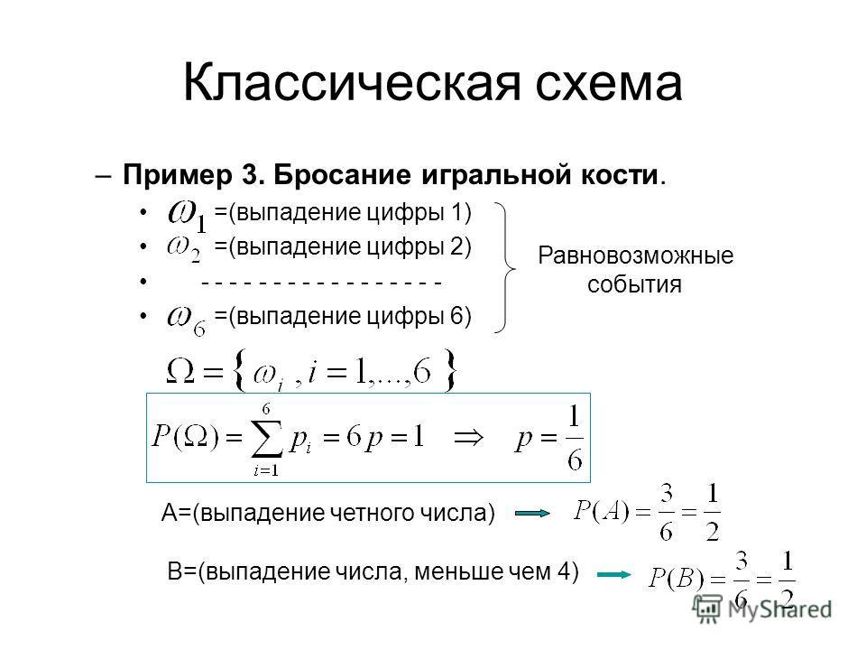 Классическая схема –Пример 3. Бросание игральной кости. =(выпадение цифры 1) =(выпадение цифры 2) - - - - - - - - - - - - - - - - - =(выпадение цифры 6) Равновозможные события А=(выпадение четного числа) В=(выпадение числа, меньше чем 4)