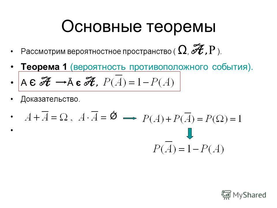 Основные теоремы Рассмотрим вероятностное пространство ( Ω, A, Р ). Теорема 1 (вероятность противоположного события). А є A Ā є A, Доказательство. Ǿ
