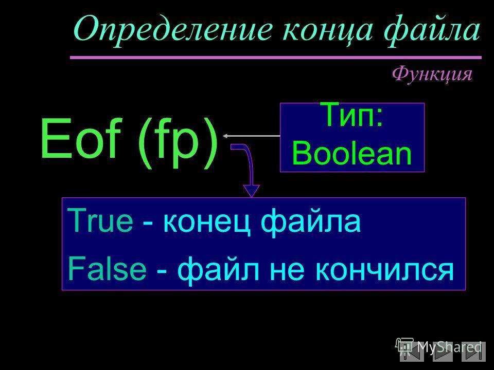 Определение конца файла Eof (fp) True - конец файла False - файл не кончился Функция Тип: Boolean