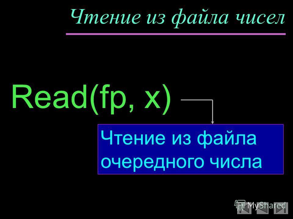 Чтение из файла чисел Read(fp, x) Чтение из файла очередного числа