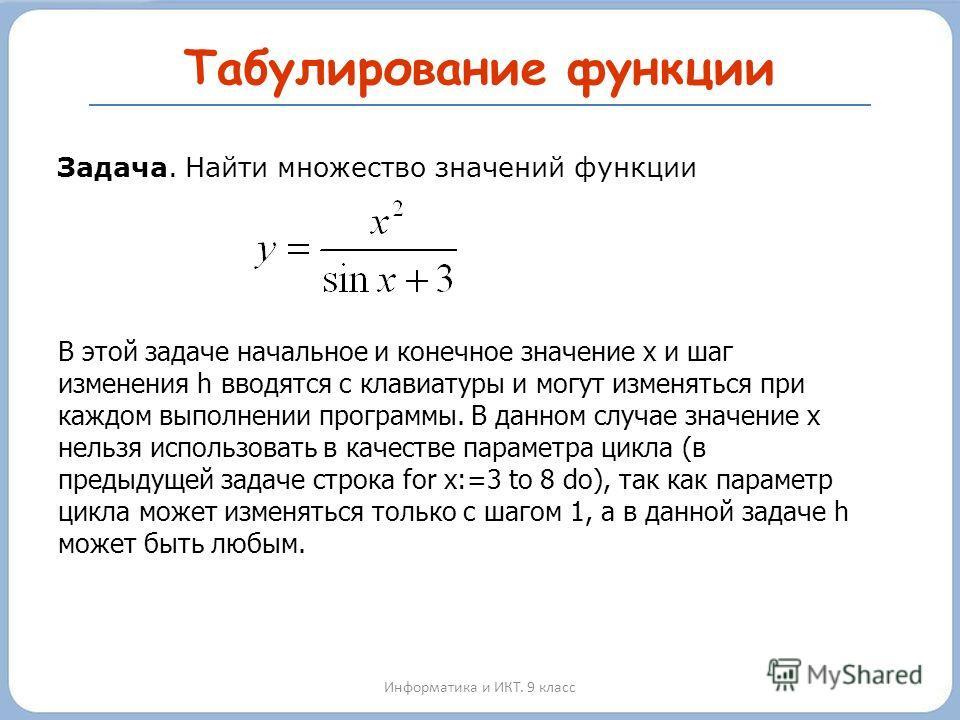 Табулирование функции Информатика и ИКТ. 9 класс h Задача. Найти множество значений функции В этой задаче начальное и конечное значение х и шаг изменения h вводятся с клавиатуры и могут изменяться при каждом выполнении программы. В данном случае знач