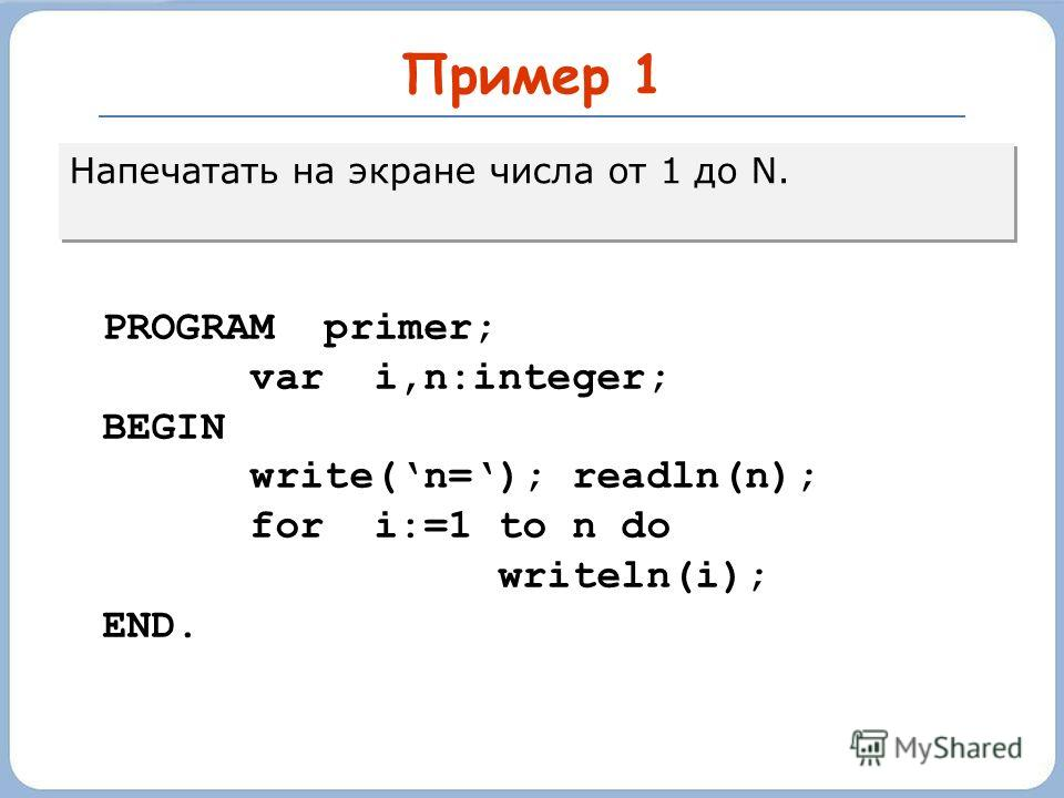 Пример 1 Напечатать на экране числа от 1 до N. PROGRAM primer; var i,n:integer; BEGIN write(n=); readln(n); for i:=1 to n do writeln(i); END.