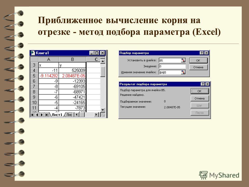 Приближенное вычисление корня на отрезке - метод подбора параметра (Excel)