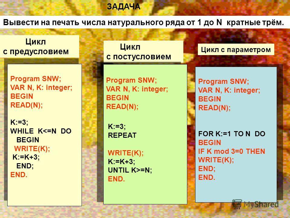 Цикл с постусловием Program SNW; VAR N, K: integer; BEGIN READ(N); K:=3; WHILE K