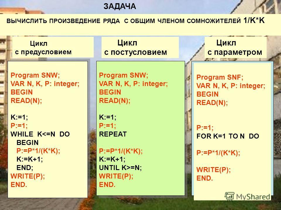 Цикл с предусловием Цикл с постусловием Цикл с параметром Program SNW; VAR N, K, P: integer; BEGIN READ(N); K:=1; P:=1; WHILE K