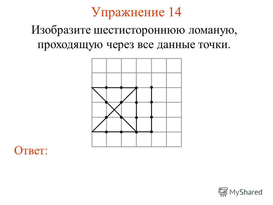 Упражнение 14 Изобразите шестистороннюю ломаную, проходящую через все данные точки. Ответ: