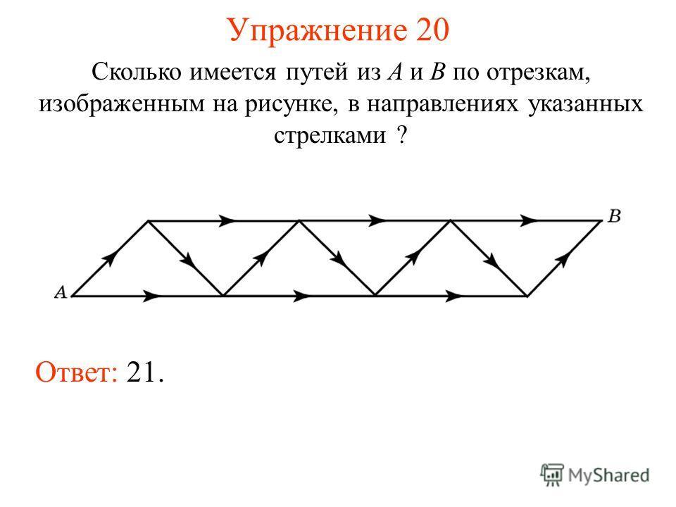Упражнение 20 Сколько имеется путей из A и B по отрезкам, изображенным на рисунке, в направлениях указанных стрелками ? Ответ: 21.