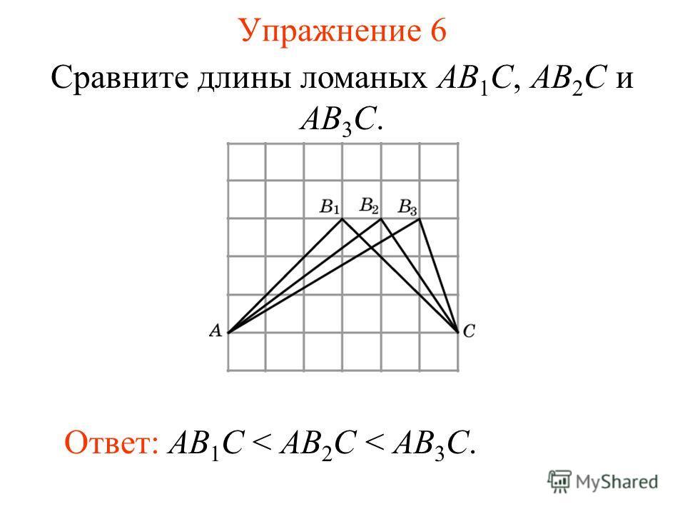 Упражнение 6 Сравните длины ломаных AB 1 C, AB 2 C и AB 3 C. Ответ: AB 1 C < AB 2 C < AB 3 C.