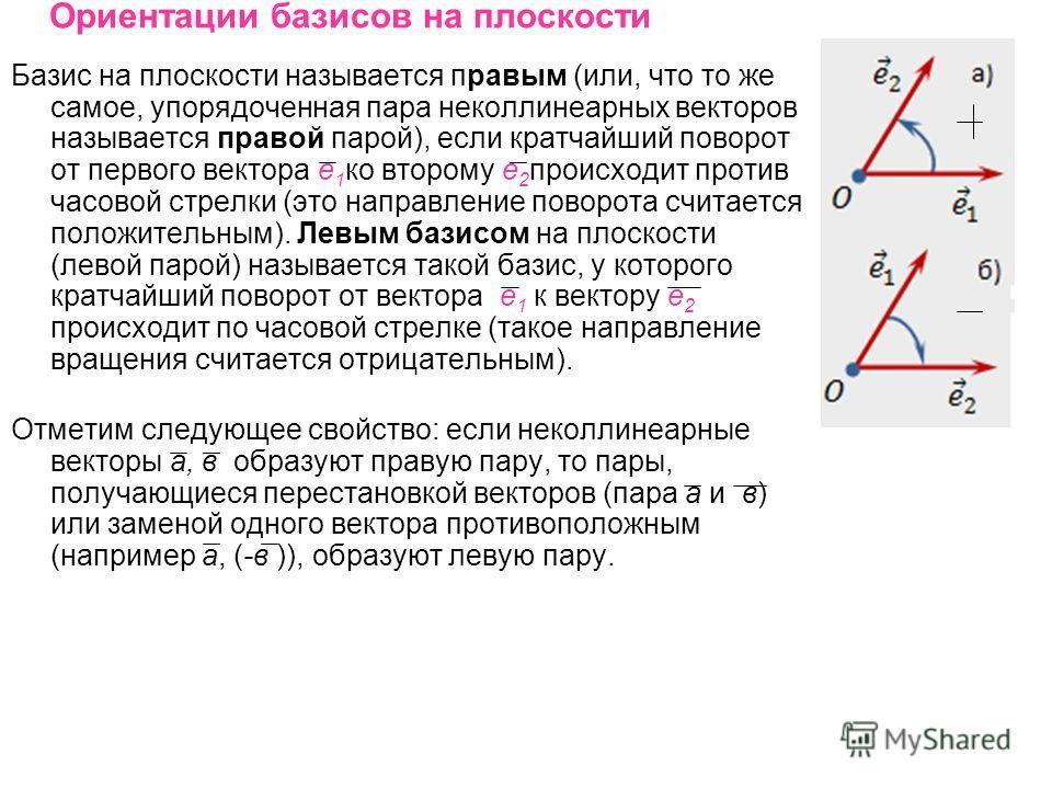 Ориентации базисов на плоскости Базис на плоскости называется правым (или, что то же самое, упорядоченная пара неколлинеарных векторов называется правой парой), если кратчайший поворот от первого вектора е 1 ко второму е 2 происходит против часовой с