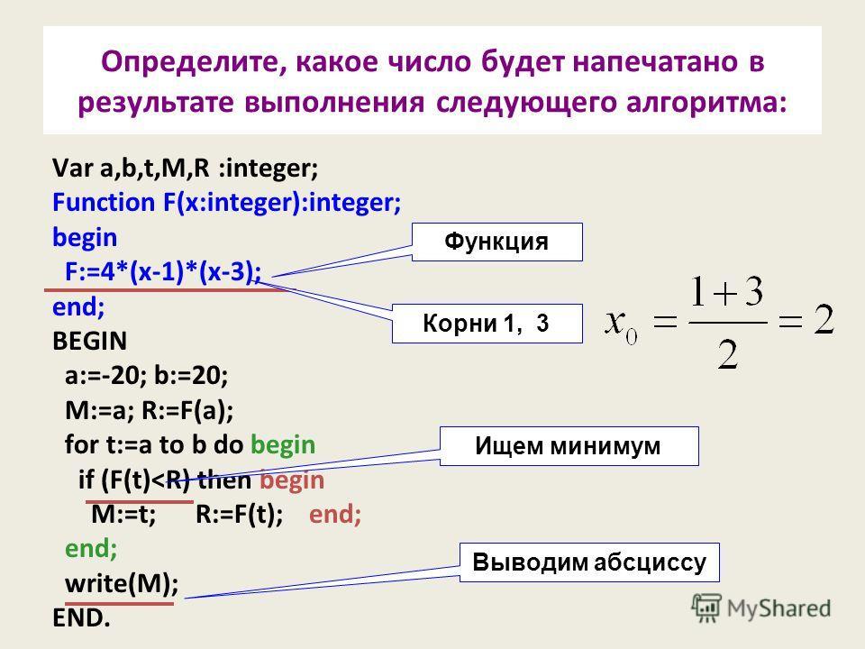 Определите, какое число будет напечатано в результате выполнения следующего алгоритма: Var a,b,t,M,R :integer; Function F(x:integer):integer; begin F:=4*(x-1)*(x-3); end; BEGIN a:=-20; b:=20; M:=a; R:=F(a); for t:=a to b do begin if (F(t)