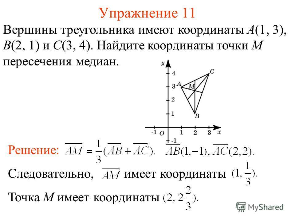 Упражнение 11 Вершины треугольника имеют координаты A(1, 3), B(2, 1) и C(3, 4). Найдите координаты точки M пересечения медиан. Решение: Следовательно, имеет координаты Точка M имеет координаты