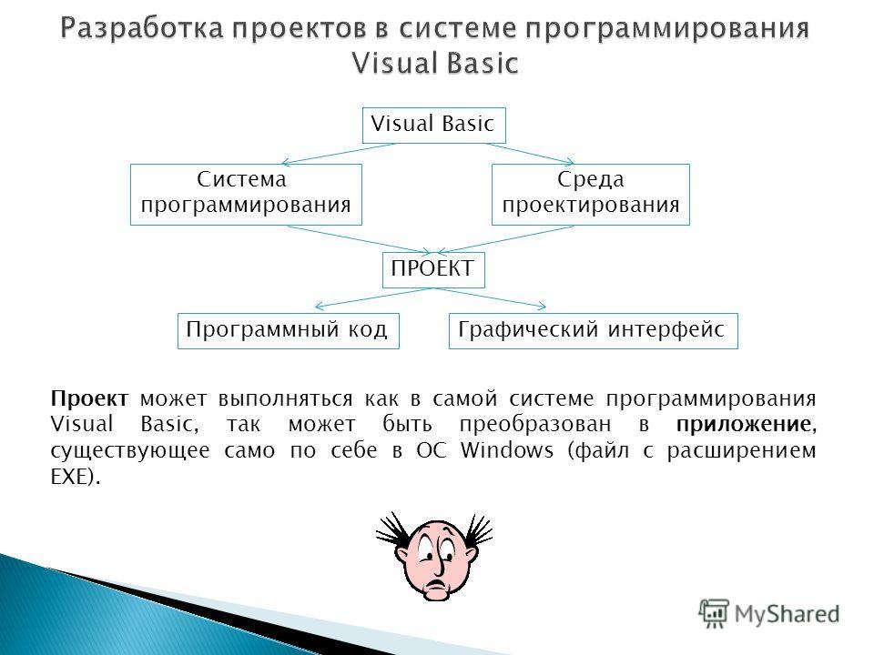 Visual Basic Система программирования Среда проектирования ПРОЕКТ Программный кодГрафический интерфейс Проект может выполняться как в самой системе программирования Visual Basic, так может быть преобразован в приложение, существующее само по себе в О
