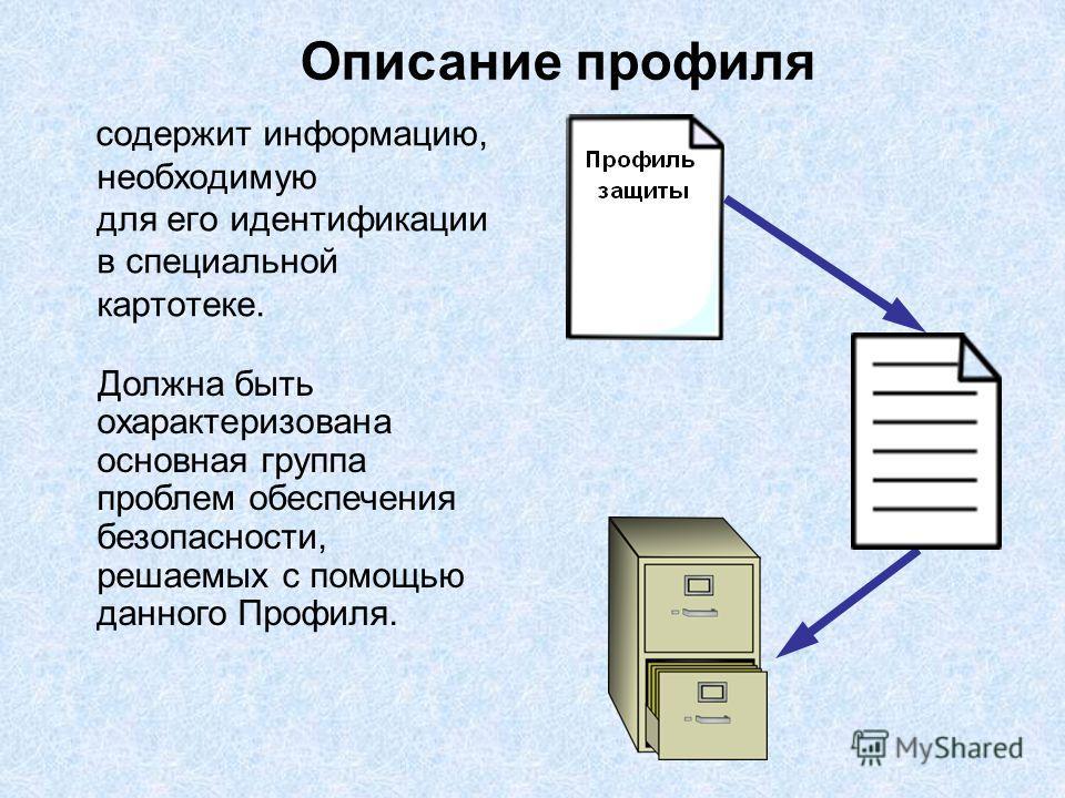 содержит информацию, необходимую для его идентификации в специальной картотеке. Описание профиля Должна быть охарактеризована основная группа проблем обеспечения безопасности, решаемых с помощью данного Профиля.