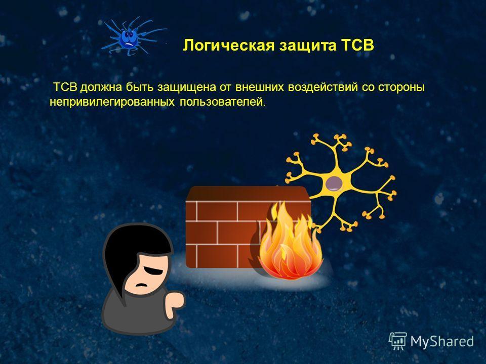 Логическая защита ТСВ ТСВ должна быть защищена от внешних воздействий со стороны непривилегированных пользователей.